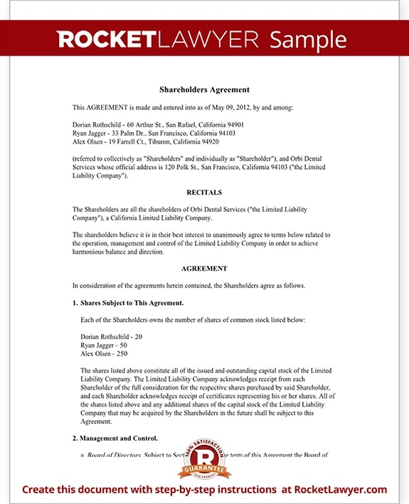 shareholders investment agreement example