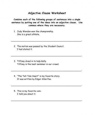simple adjective clause worksheet example1