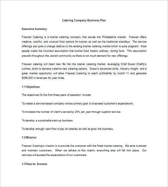 simple catering company business plan example