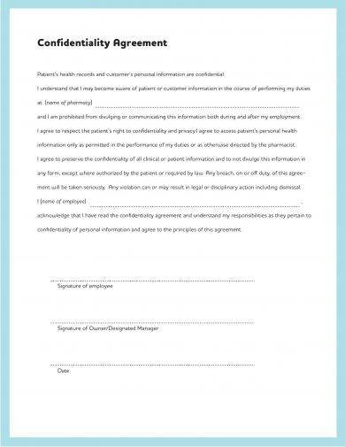 simple confidentiality agreement example