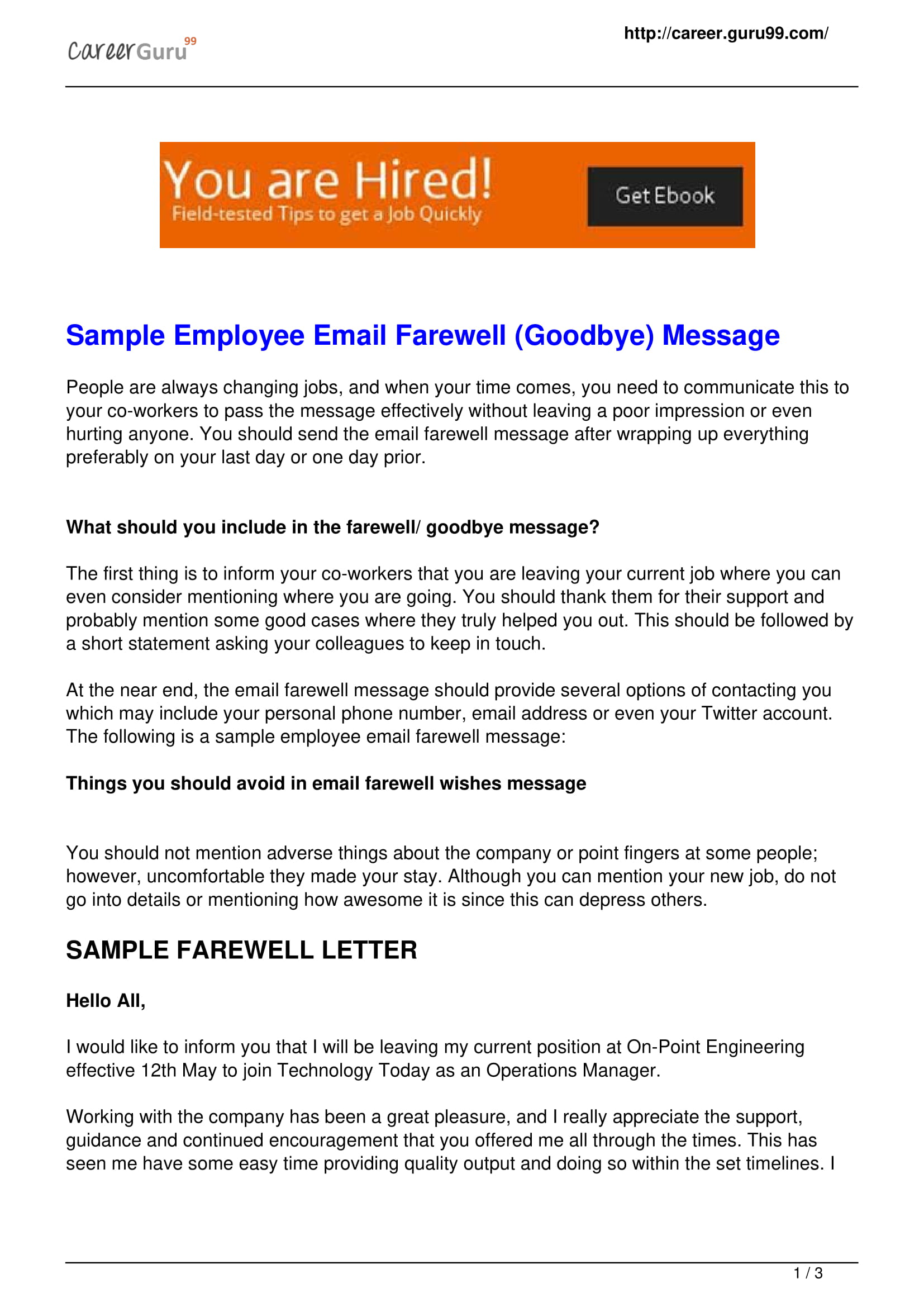 simple employee farewell email to coworkers example
