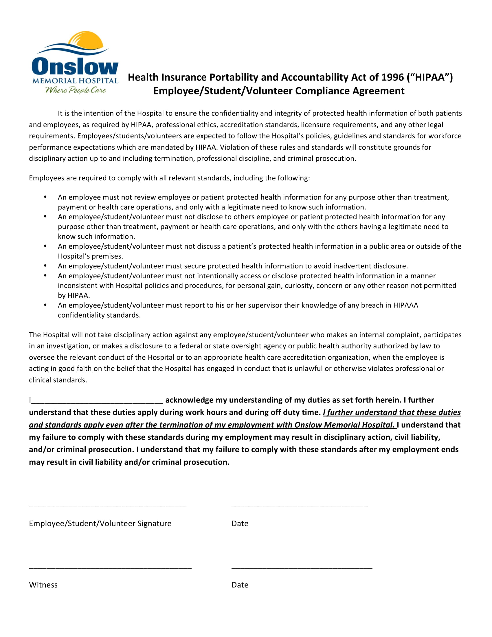 simple hipaa compliance agreement example 1