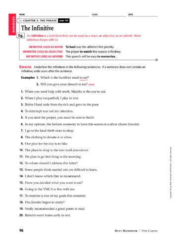 simple infinitive phrase worksheet example1