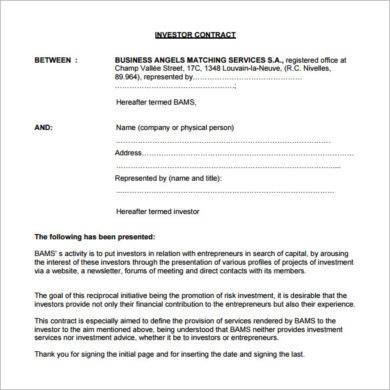 simple investor contract agreement example1