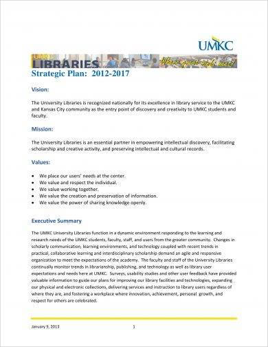 simple library strategic plan example