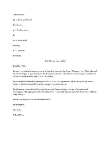 simple medical leave letter example1