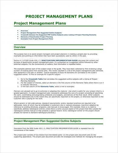 simple project management plan example