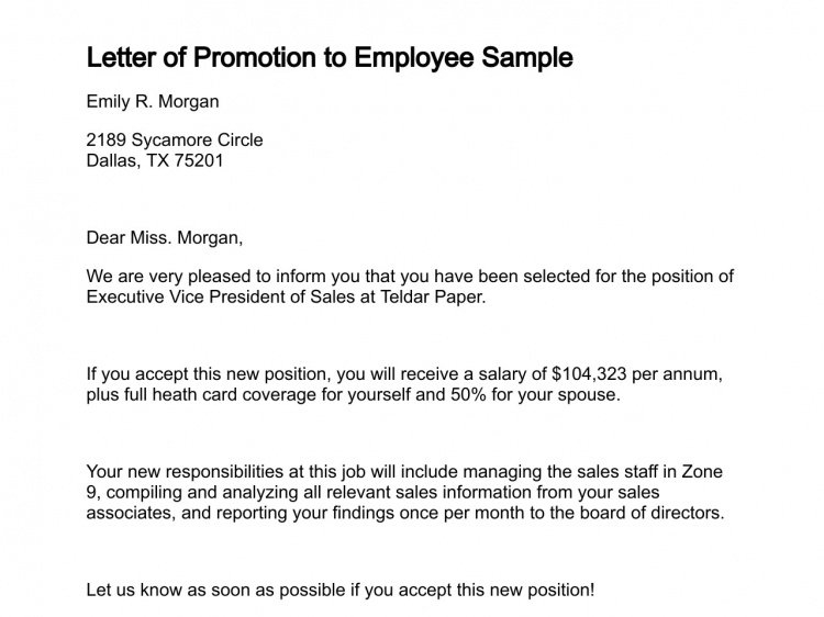 simple promotion recommendation letter example