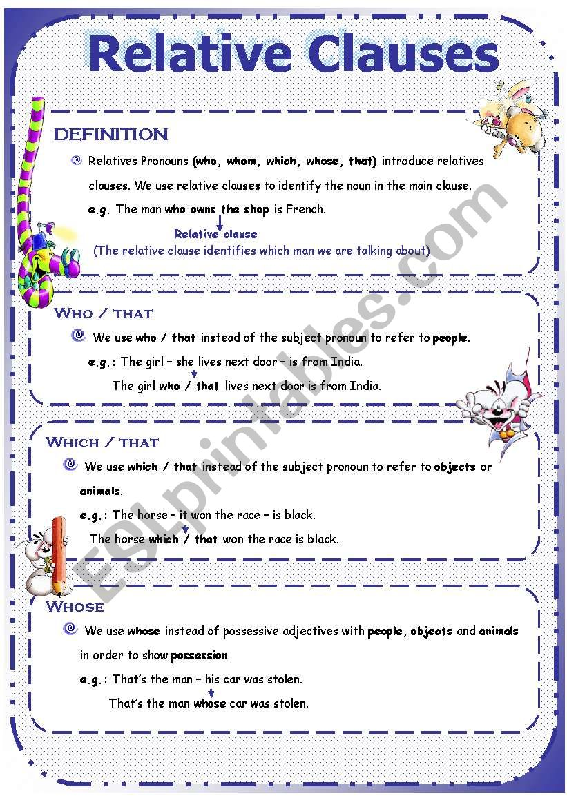 simple relative clause worksheet example