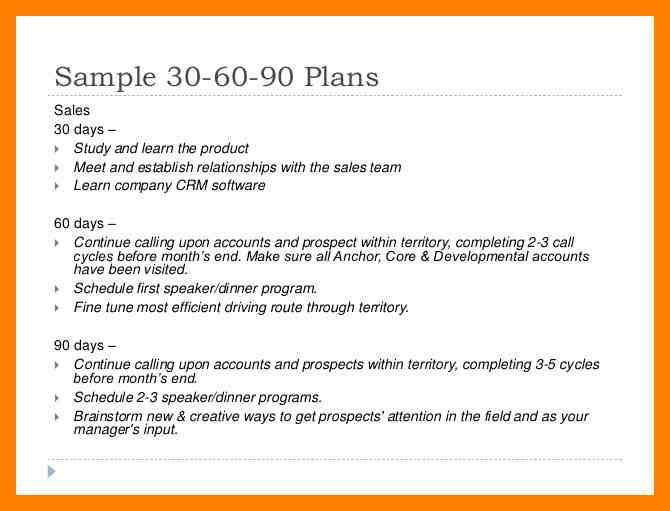 simple sample 90 day plan
