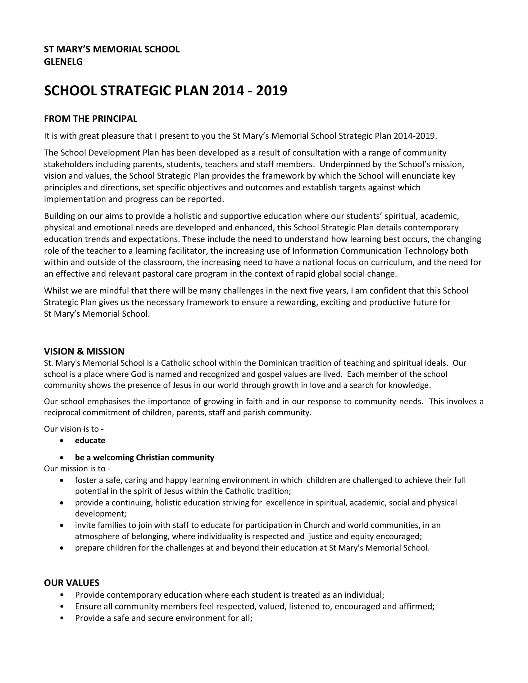 simple school strategic plan example 1