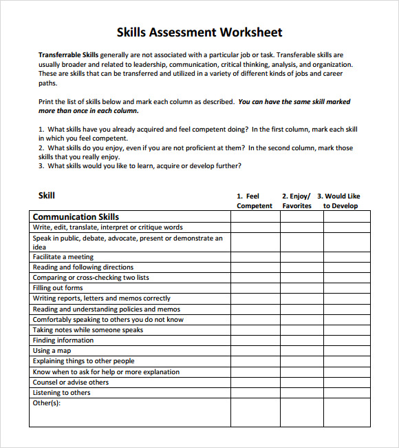 skills assessment worksheet