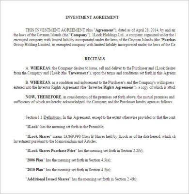 13 Small Business Investment Agreement Examples In Pdf Word Apple Pages Google Docs Examples