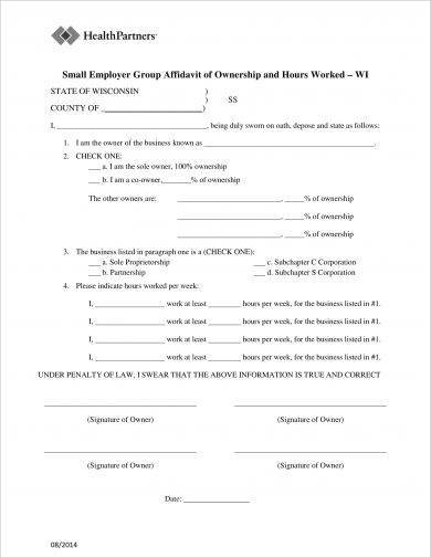 small employer group affidavit of ownership example2
