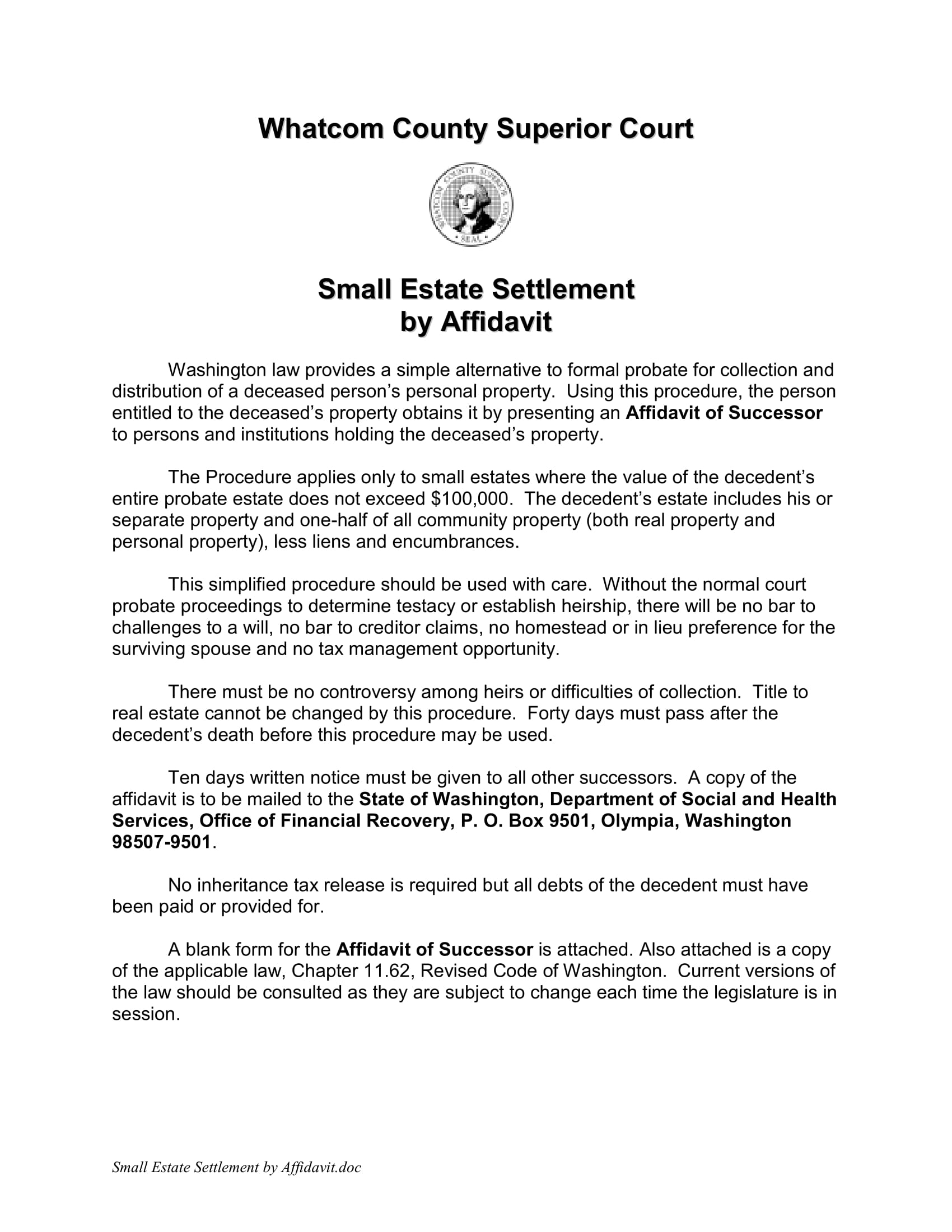 small estate settlement by affidavit