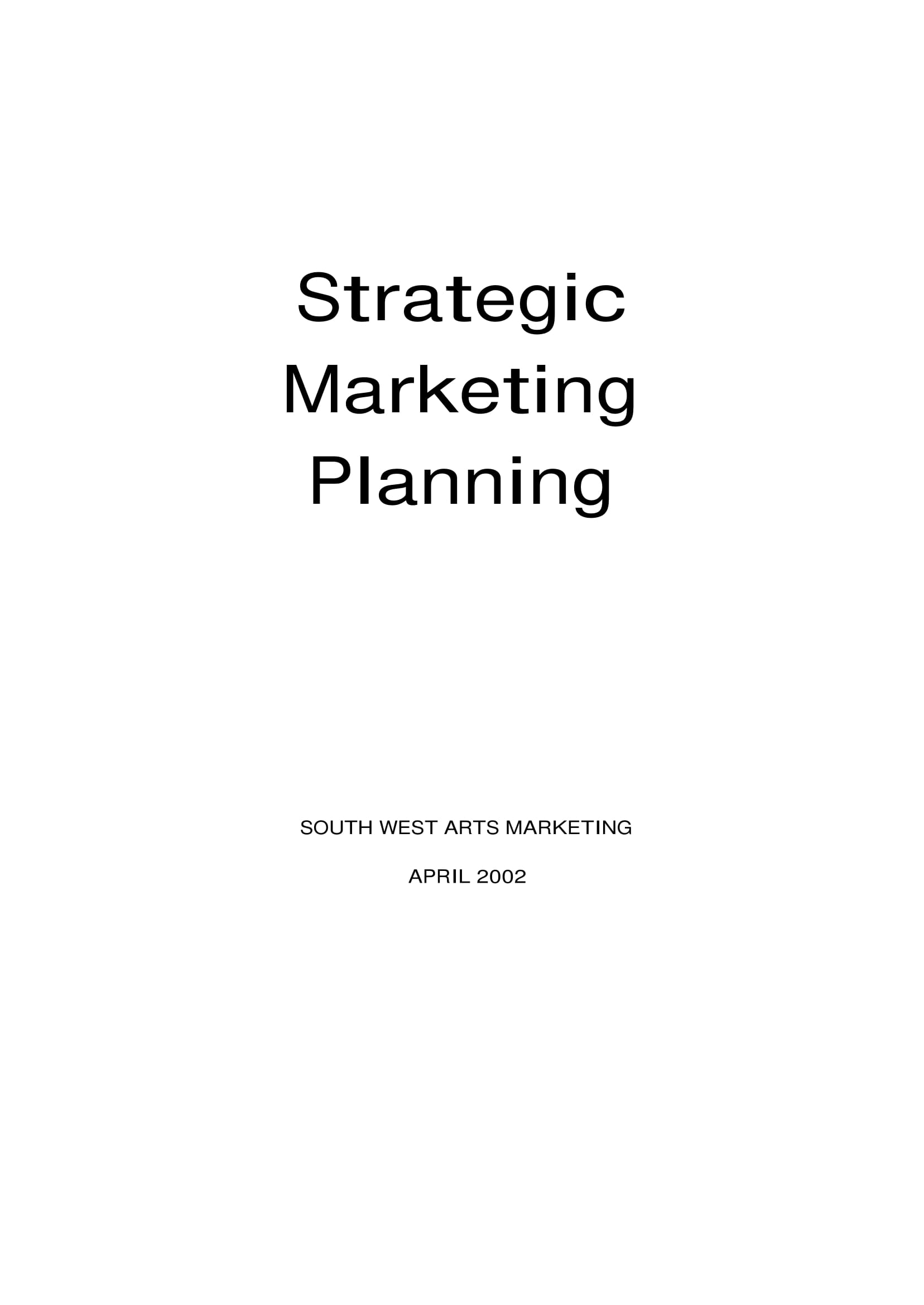 south west arts strategic marketing plan example