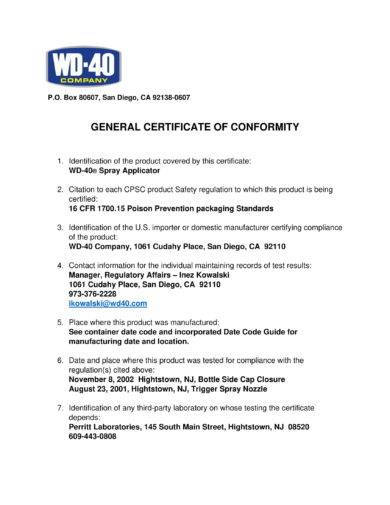 spray applicator general certificate of conformity example1