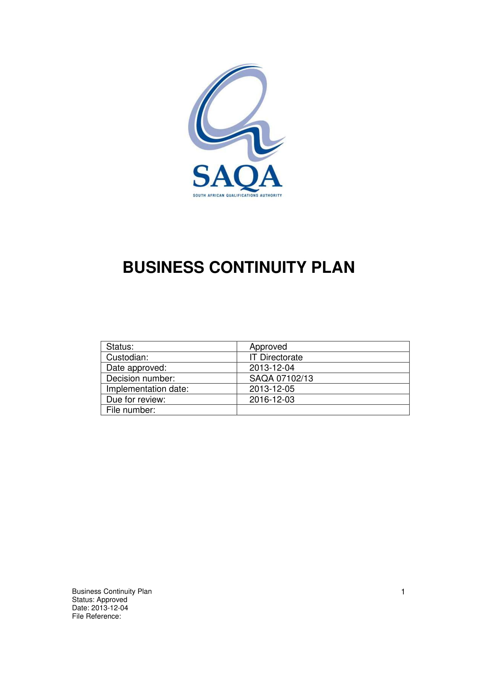 standard business continuity plan example 011