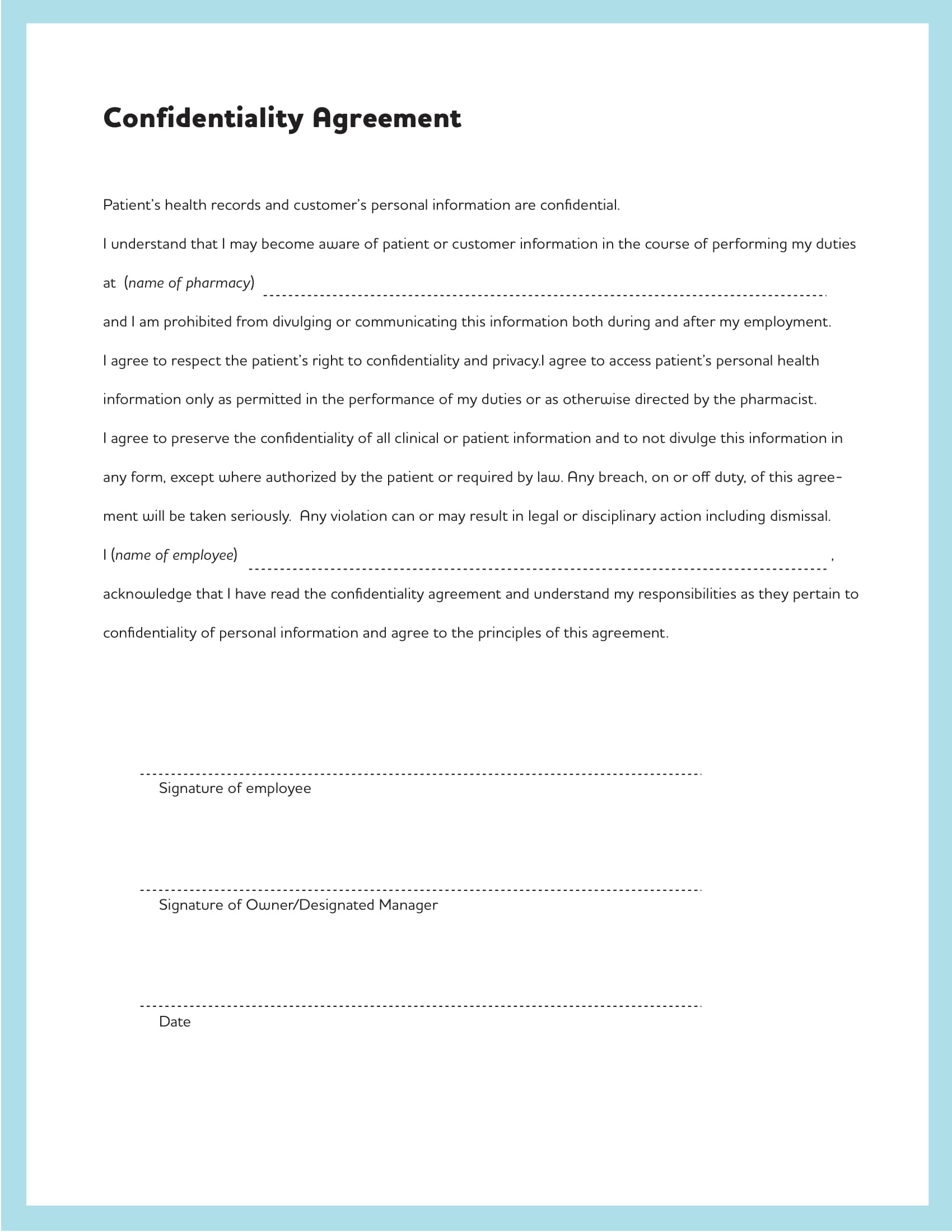 standard confidentiality agreement example 1