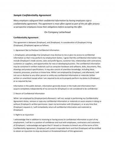 standard confidentiality agreement template example
