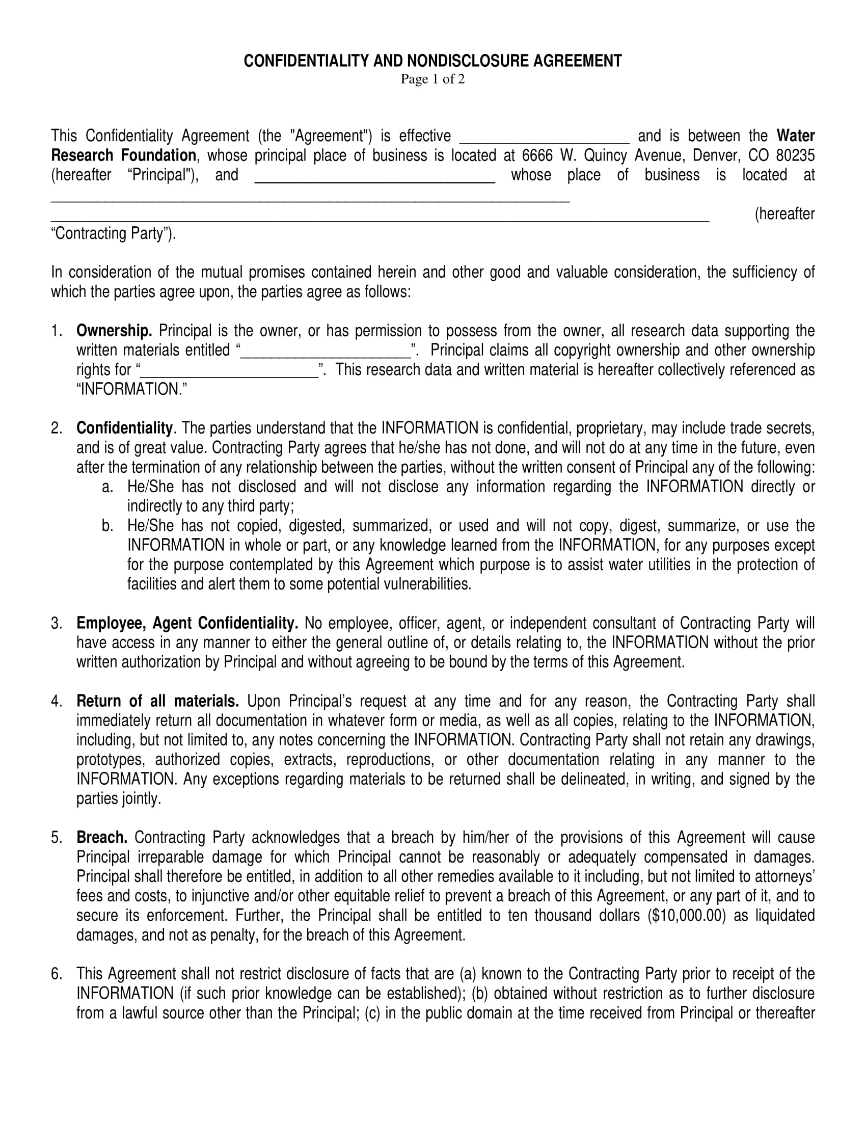 9 Non Disclosure Confidentiality Agreement Examples Pdf