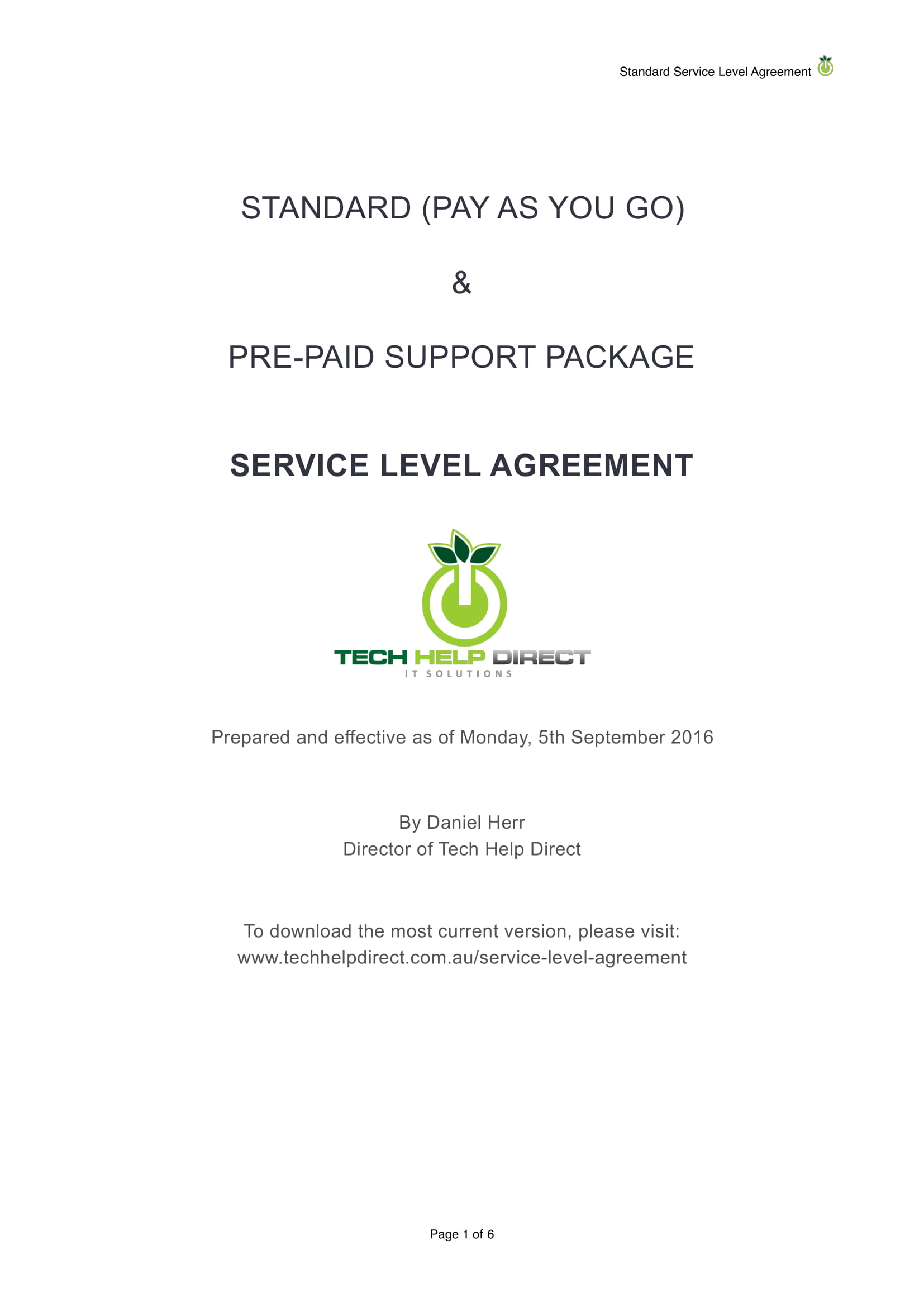 standard and pre paid support package service level agreement example 11