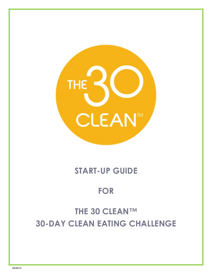 start up guide for 30 day clean eating challenge