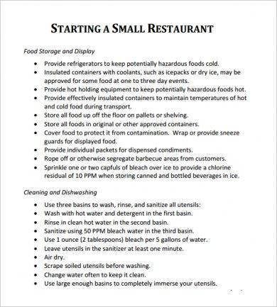 starting a restaurant action plan guide example