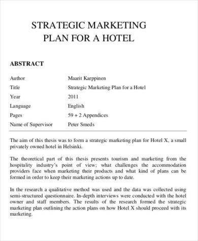 strategic marketing plan for a hotel