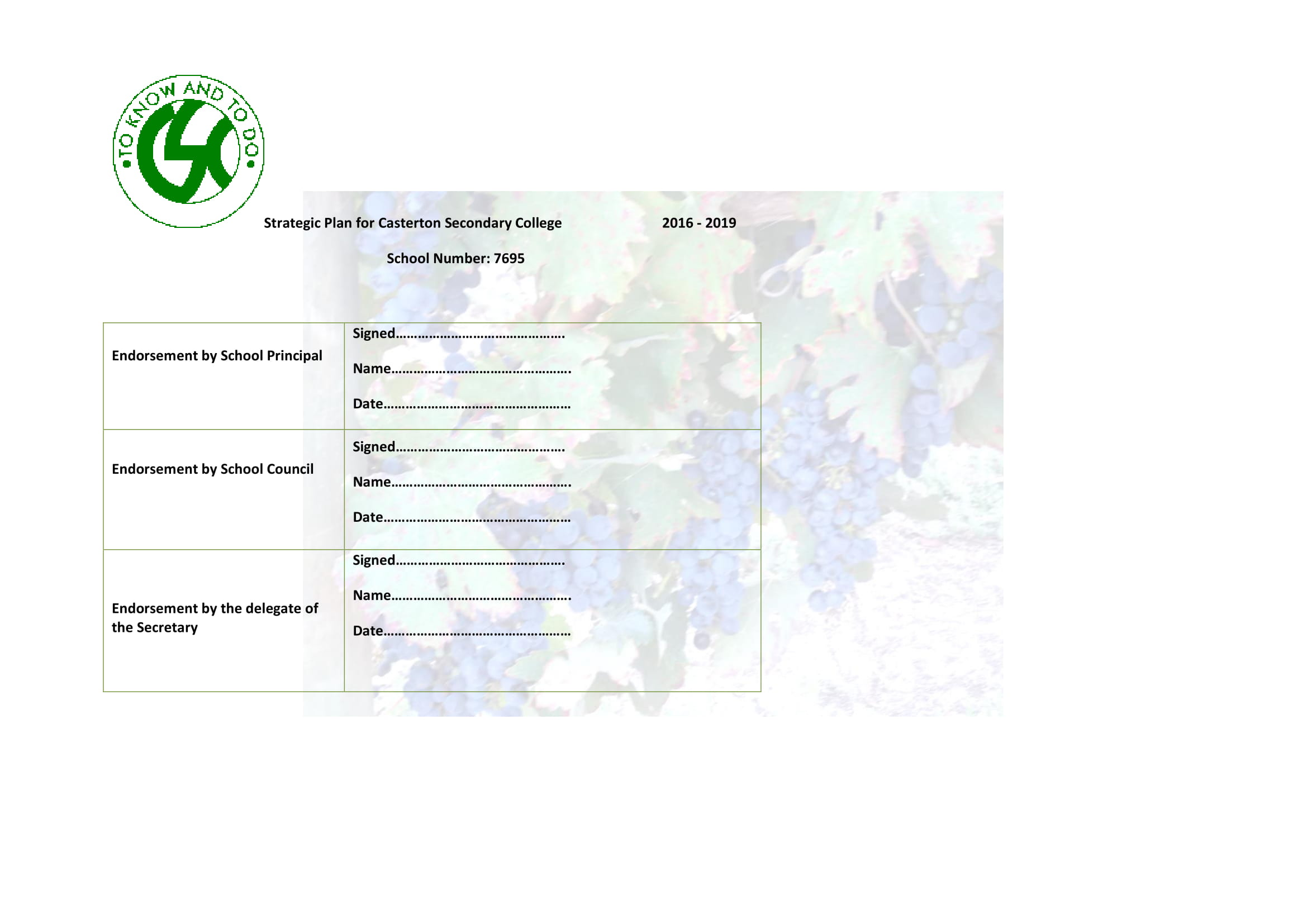 strategic plan for secondary college template example 01