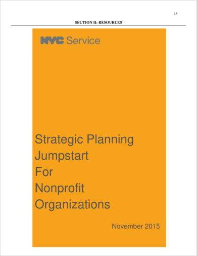 strategic planning jumpstart for non profit organizations example