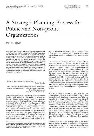 strategic planning process for public and non profit organizations example