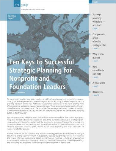 strategic planning for non profit and foundation leaders example