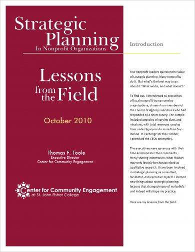 strategic planning in non profit organizations example