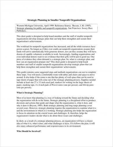 strategic planning in smaller non profit organizations example
