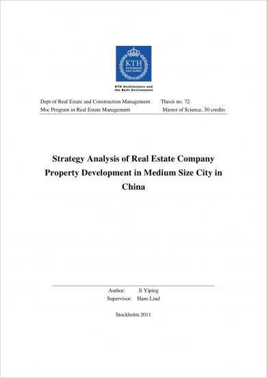 strategy analysis of real estate company property development plan example