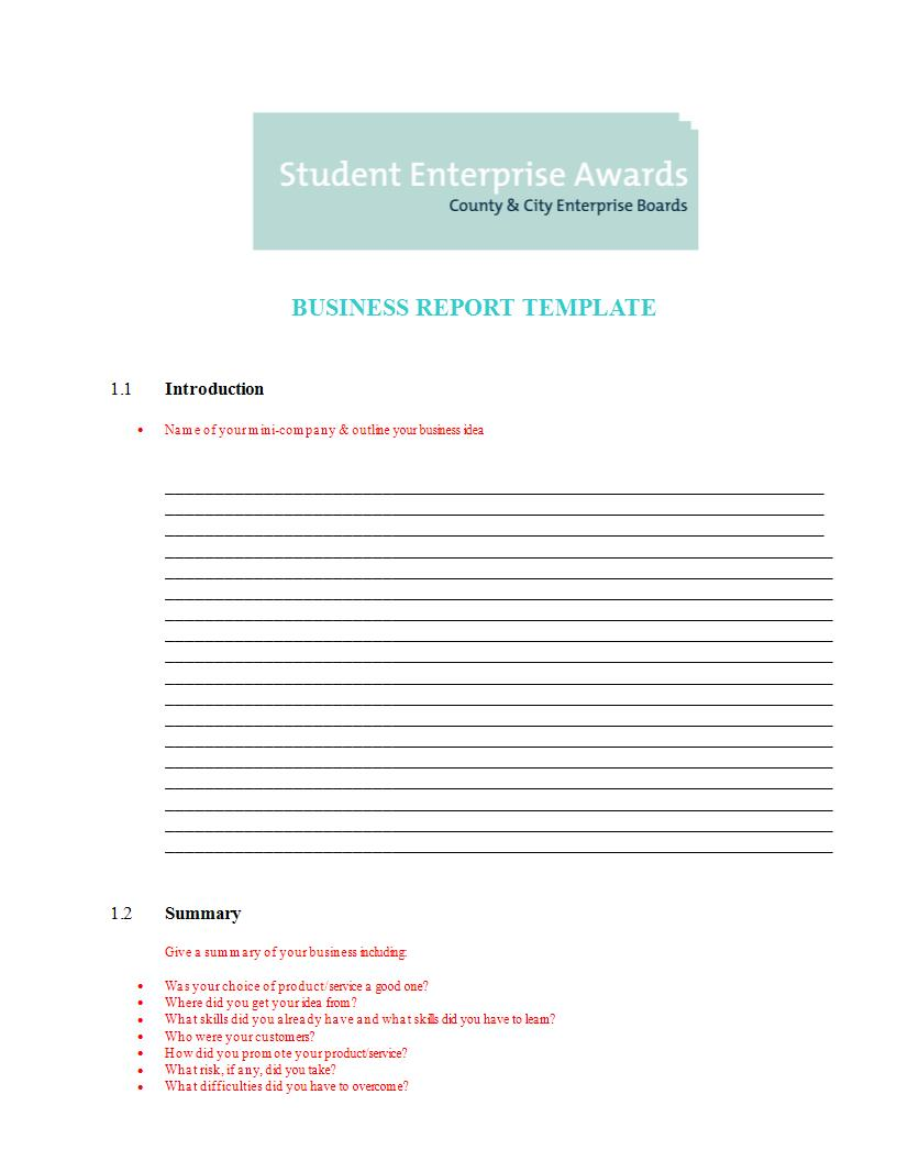student business report template example