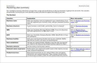 summary for marketing strategy business plan example1