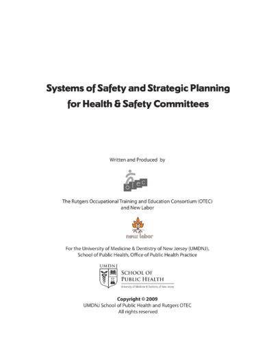 systems of safety and strategic planning for health and safety committees