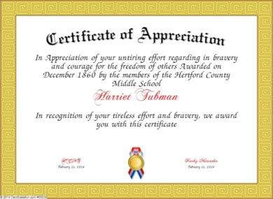 teacher appreciation bravery award certificate example1