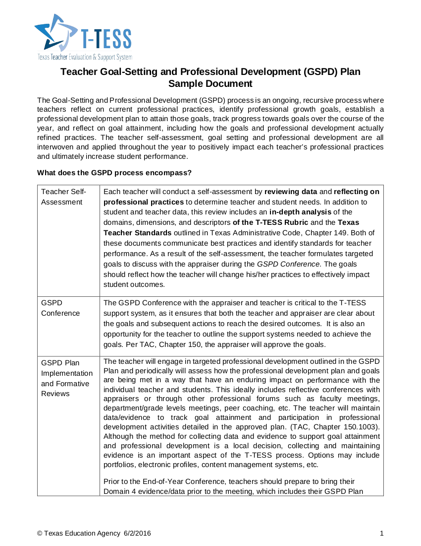 teacher goal setting and professional development
