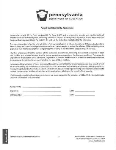 teacher parent confidentiality agreement example1