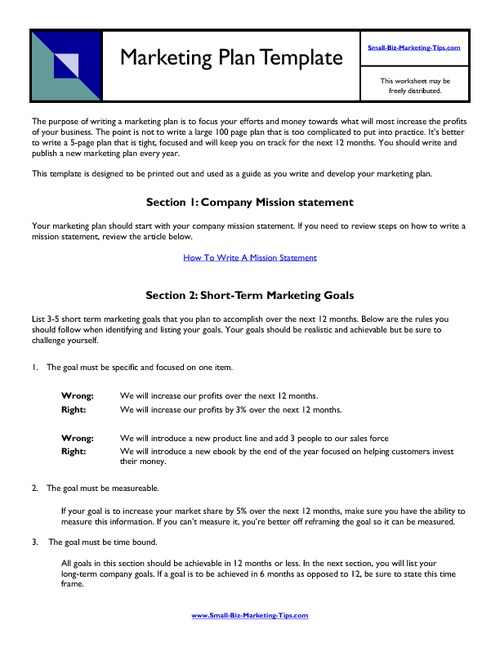 10 business marketing plan examples pdf template for marketing mission goals example maxwellsz