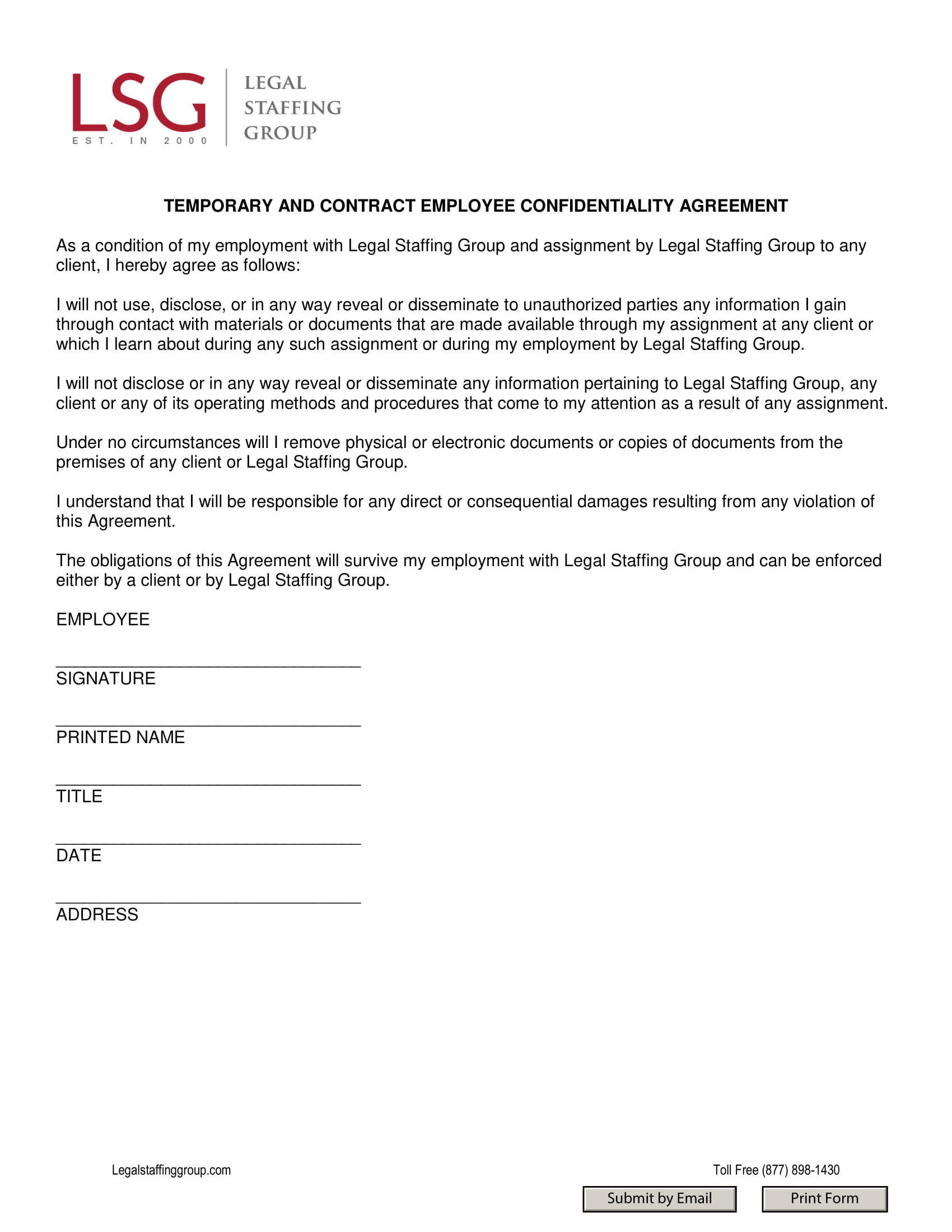temporary and contract employee confidentiality agreement example 1
