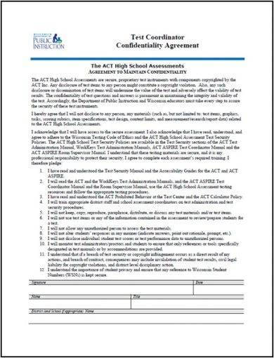 test coordinator confidentiality agreement example1