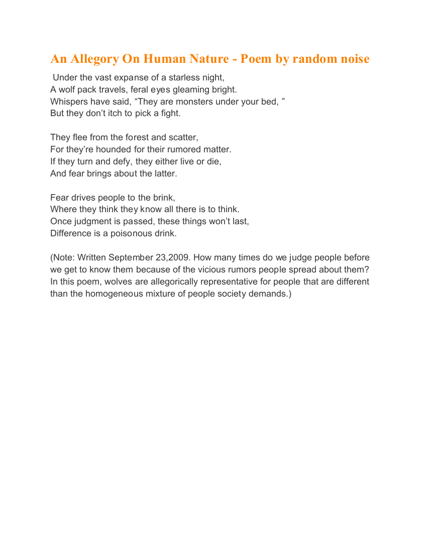 the bushfire poem allegory example