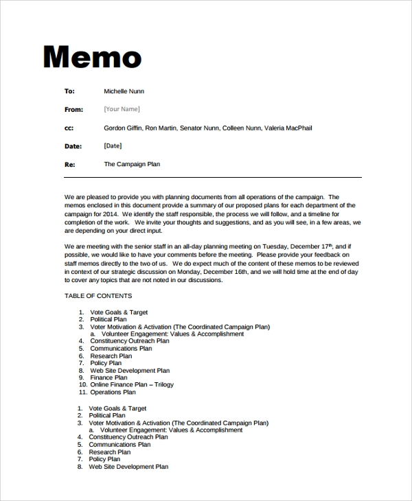 the campaign plan memo example