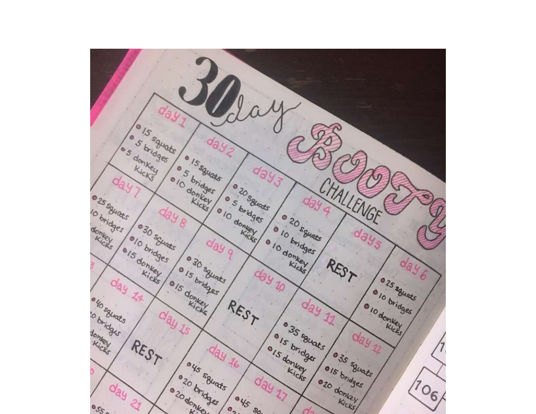 thirty day challenge fitness journal