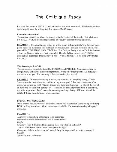 Critical essay questions