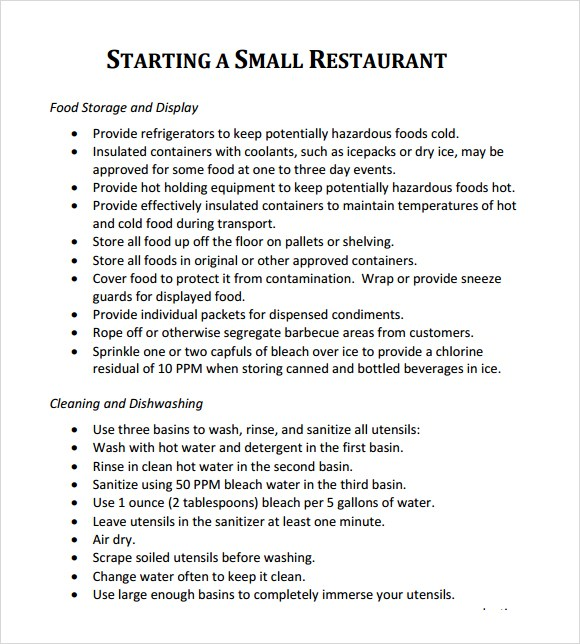 tips in starting a restaurant example